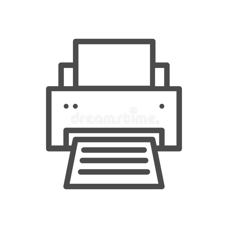 Printer line icon. Vector icon on a white background. Pixel perfect, eps 8. Printer line icon. Vector icon isolated on a white background. Pixel perfect, eps 8 royalty free illustration