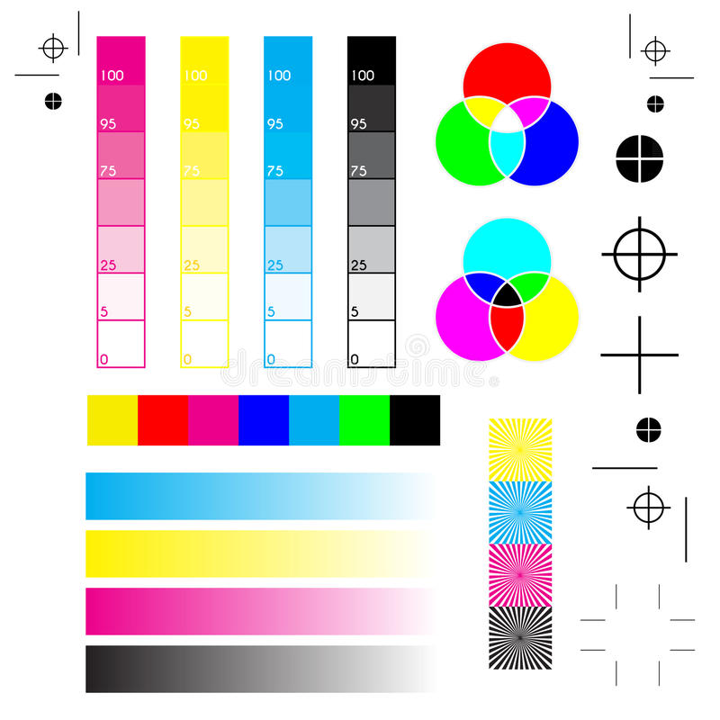 Printer marks. Plain paper with all the printer marks: printing, cutting and calibration vector illustration