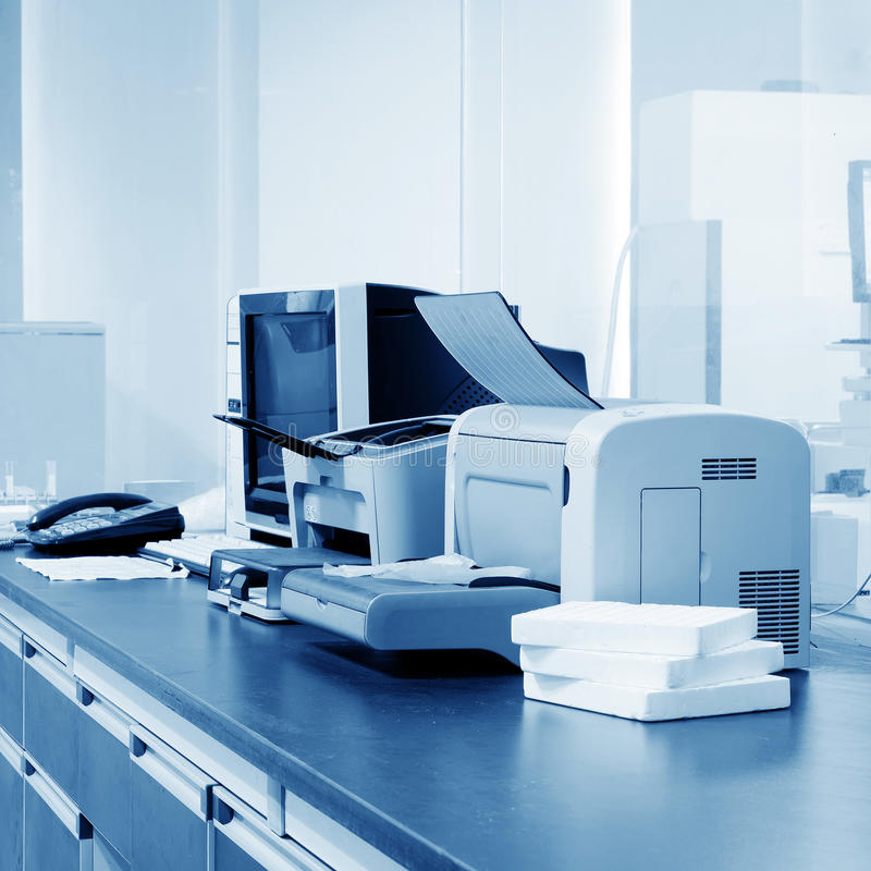Printer. Modern Office, PC, printers and copiers and other equipment stock photos