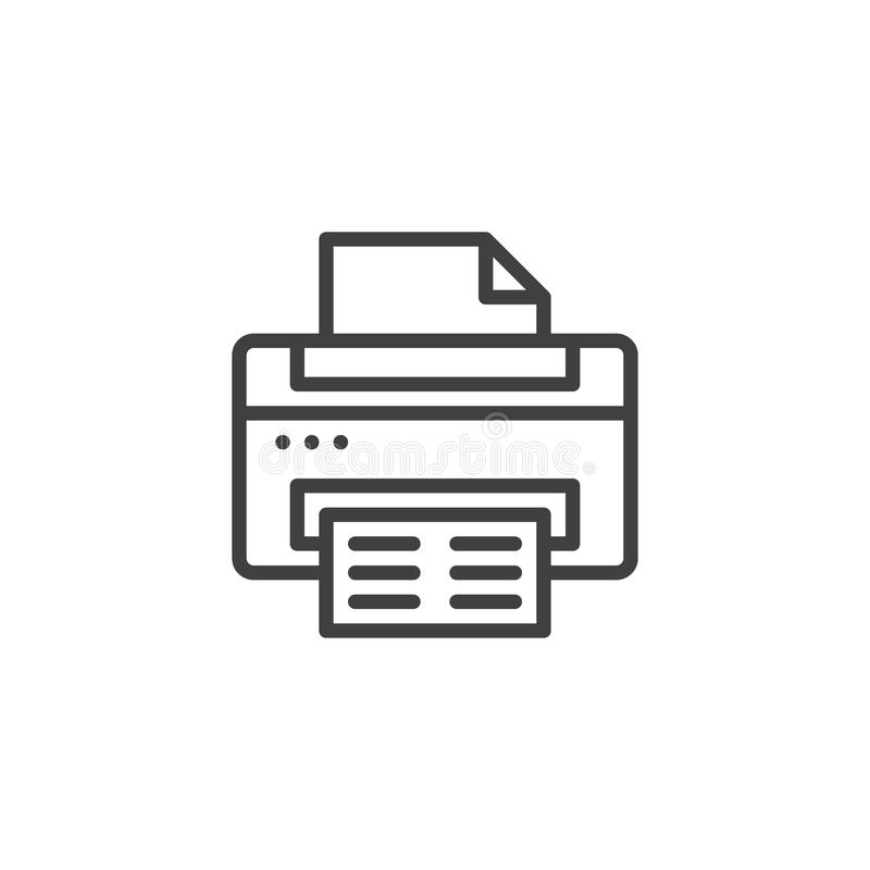 Printer outline icon. Linear style sign for mobile concept and web design. Paper Print simple line vector icon. Symbol, logo illustration. Pixel perfect vector royalty free illustration