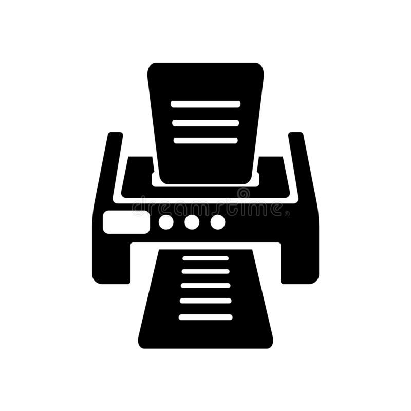 Printer with printed paper icon vector sign and symbol isolated. Printer with printed paper icon vector isolated on white background for your web and mobile app royalty free illustration