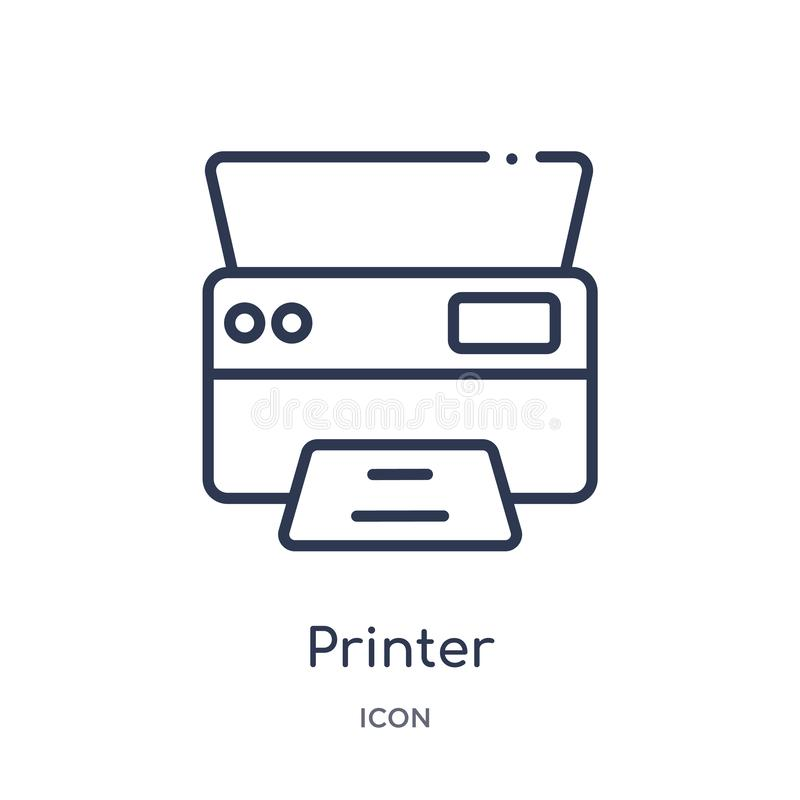 printer printing squares icon from user interface outline collection. Thin line printer printing squares icon isolated on white royalty free illustration