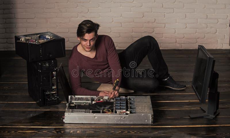 Printer refill, repairman or smiling man fix computer device stock photos