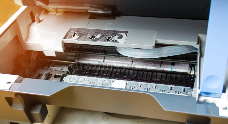 Printer repair close up. digital photocopier machine. printing equipment, 3d scanner royalty free stock image