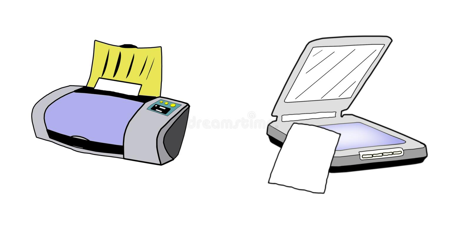 Printer and Scanner illustration, isolated royalty free stock photos