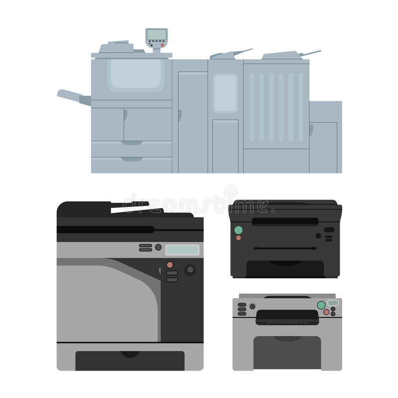 Printer. Set of color laser printer in vector. Digital print machine design. Color copy and printing equipment. Office hardware collection stock illustration