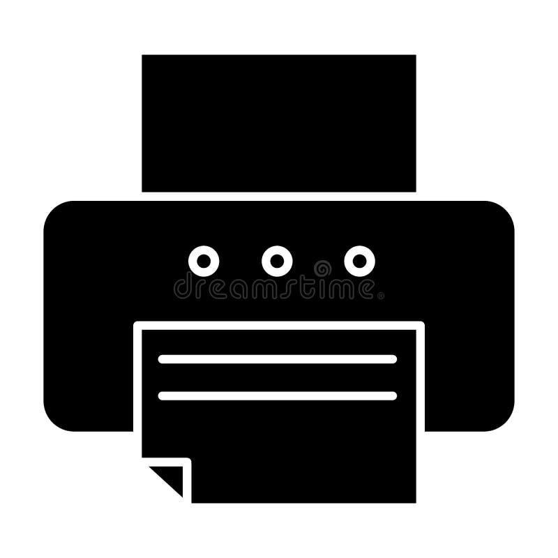 Printer stevig pictogram Fax vectordieillustratie op wit wordt geïsoleerd De stijlontwerp van de bureauprinter glyph, voor Web wo stock illustratie