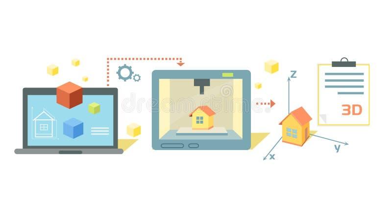 Printer Technology Icon Flat Design stock illustration