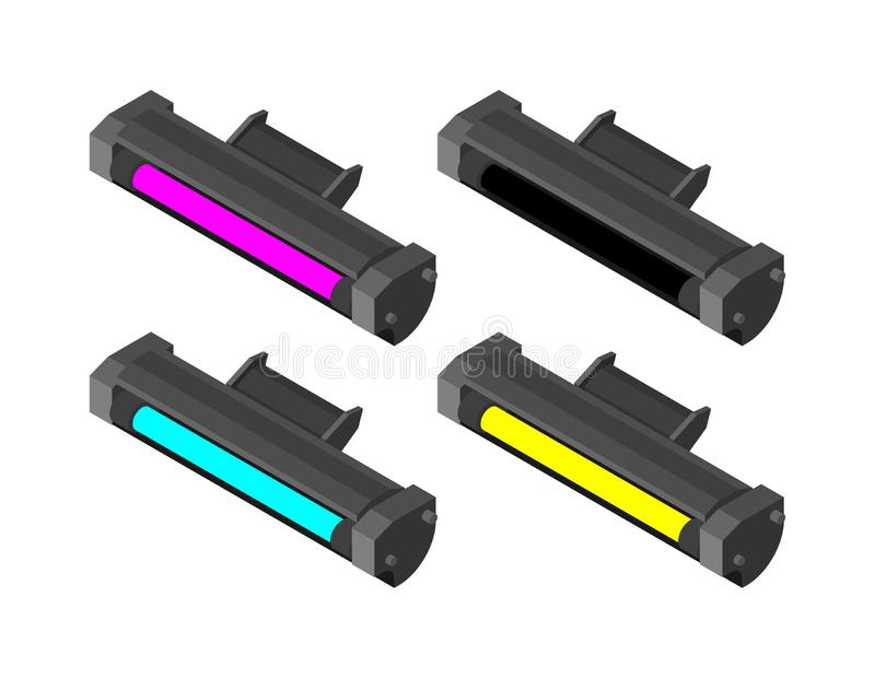 Printer toner cartridge CMYK set. Cyan and Magenta. Yellow and Key color. ink Laser Jet printer stock illustration
