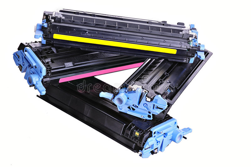 Printer toner cartridges. Laser Printer toner cartridges on a light background stock photos