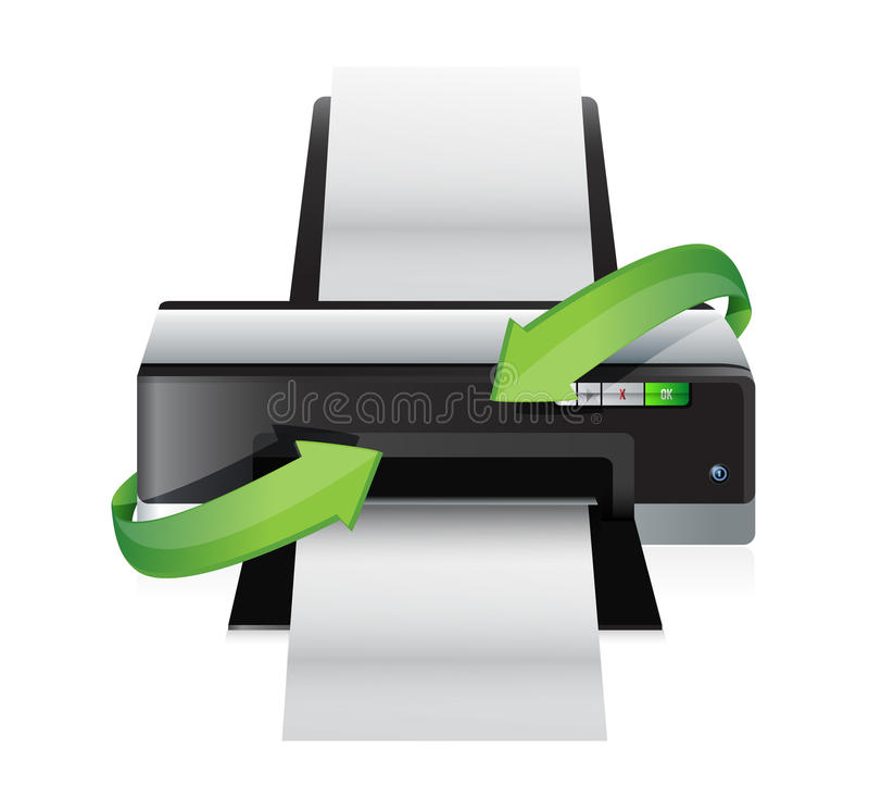 Printer turning arrows. Illustration design over a white background vector illustration