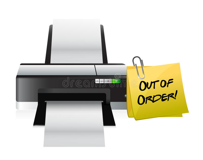 Printer uit ordepost stock illustratie