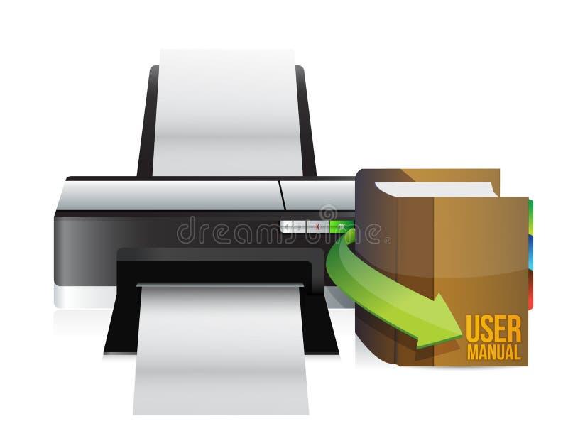 Printer and user manual. Illustration design over a white background royalty free illustration