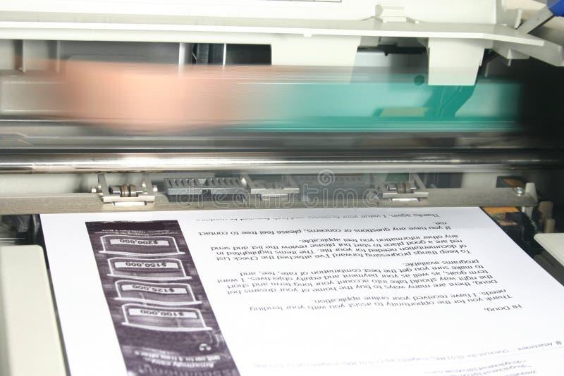 Printer at work stock photo