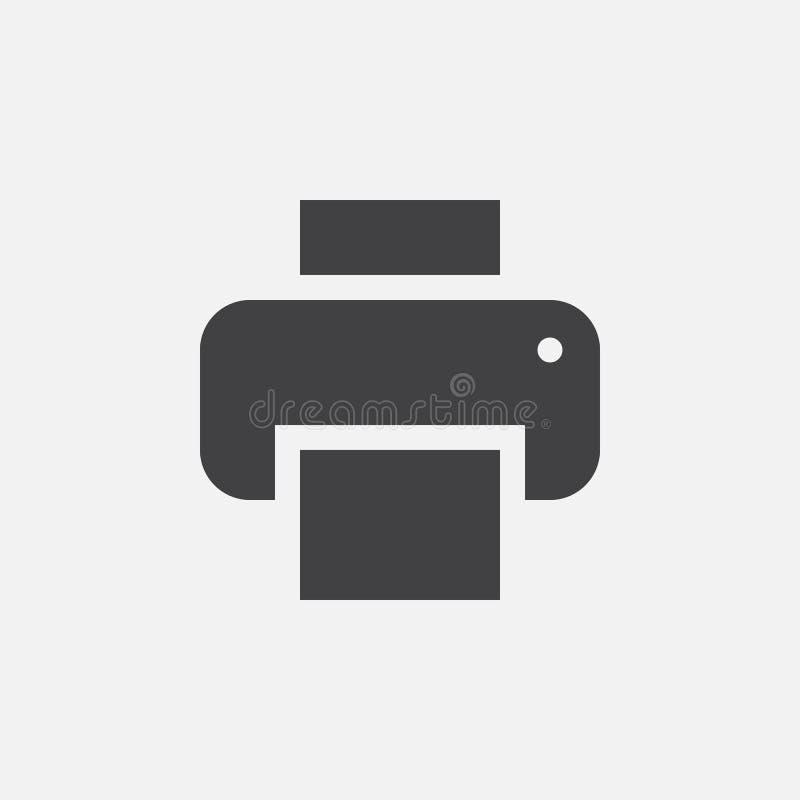Printerpictogram, vectordieembleemillustratie, pictogram op wit wordt geïsoleerd royalty-vrije illustratie
