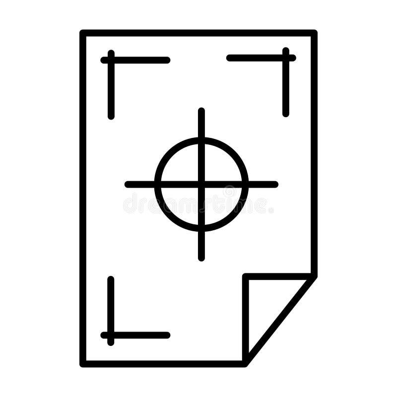 Printertekens op een document pictogram, overzichtsstijl stock illustratie