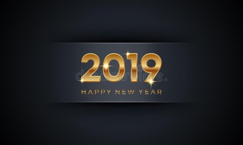PrintHappy新年2019年 与金黄数字的创造性的豪华抽象传染媒介例证在黑暗的背景 库存例证