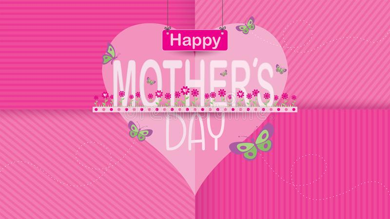 PrintHappy matek dnia kartka z pozdrowieniami Formułuje matki po środku ogródu kwiaty magenta kolor z motyli latać royalty ilustracja