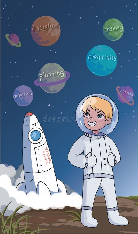 PrintHappy spornte jungen Astronauten in einer persönlichen Wachstumskonzeptstellung in einem Raumanzug vor einer Rakete unten an stock abbildung