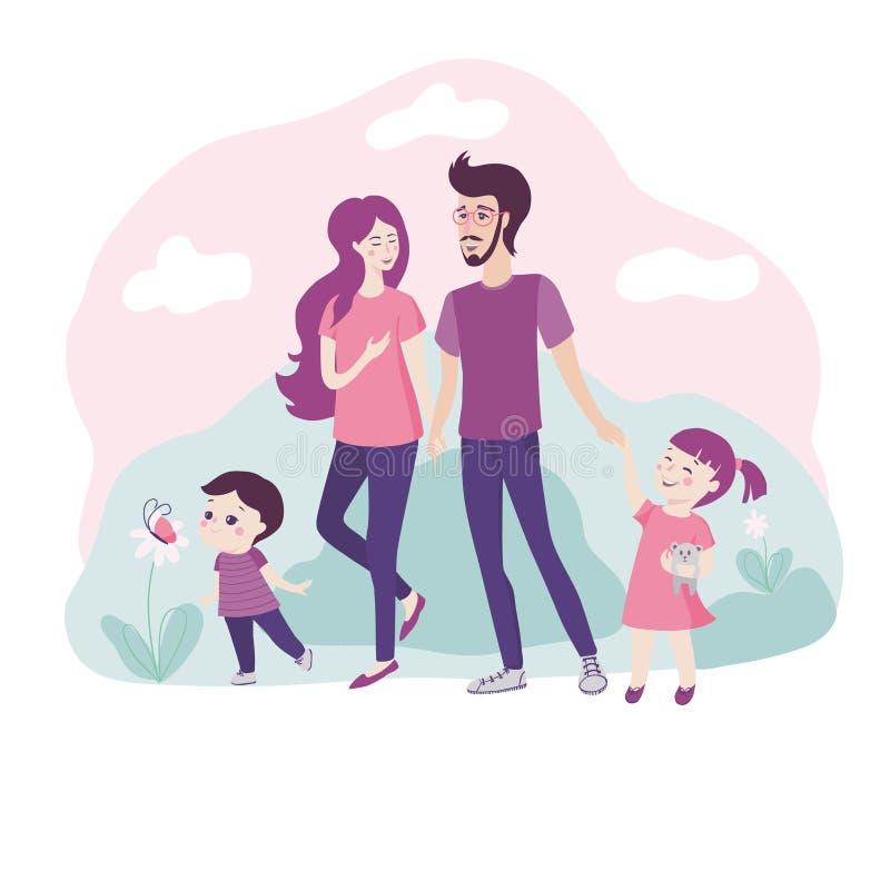 PrintHappy ung familj som tillsammans går i natur stock illustrationer