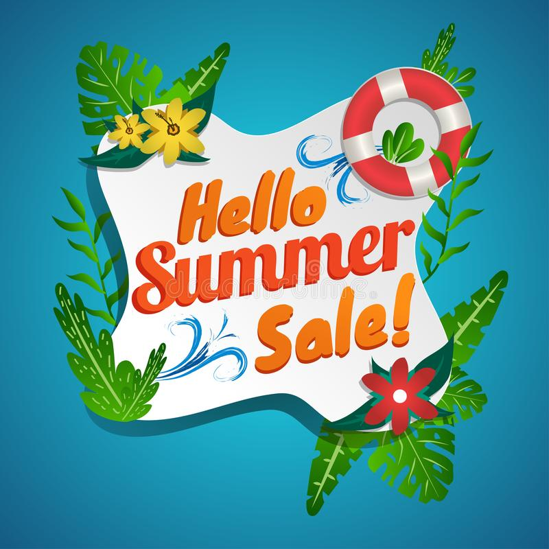 PrintHello Summer sale discount banner. with Tropical theme holiday season green background design - Vector. Hello Summer sale discount banner. with Tropical stock illustration