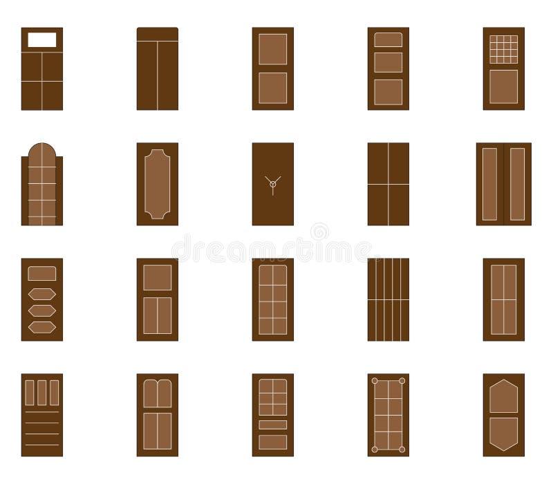 PrintIllustration av dörrar med olika variationer kan användas på rengöringsduken och mobilen stock illustrationer