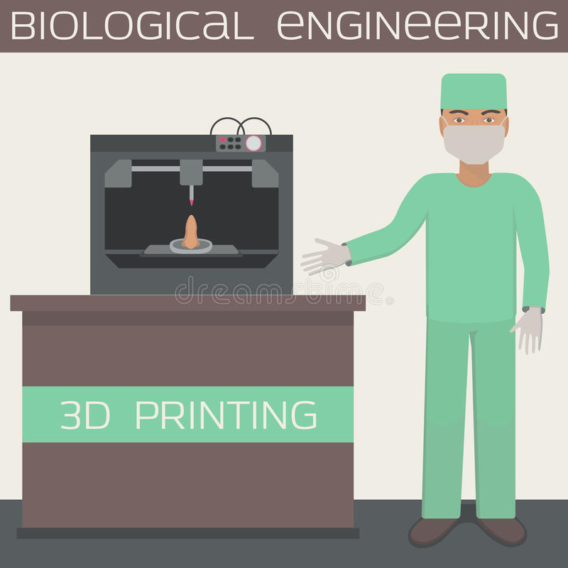 printing 3D för att producera en cell- tankeskapelse, biologisk teknik, tryckorgan vektor illustrationer