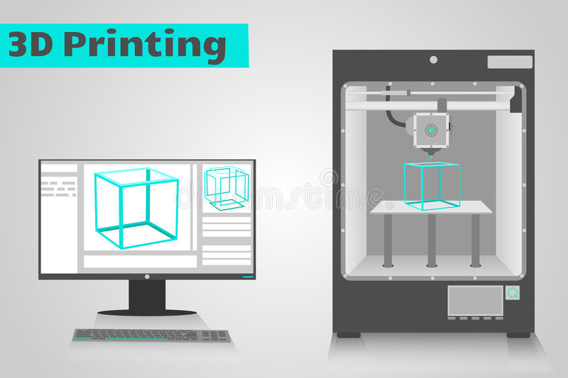 printing 3D med datoren stock illustrationer