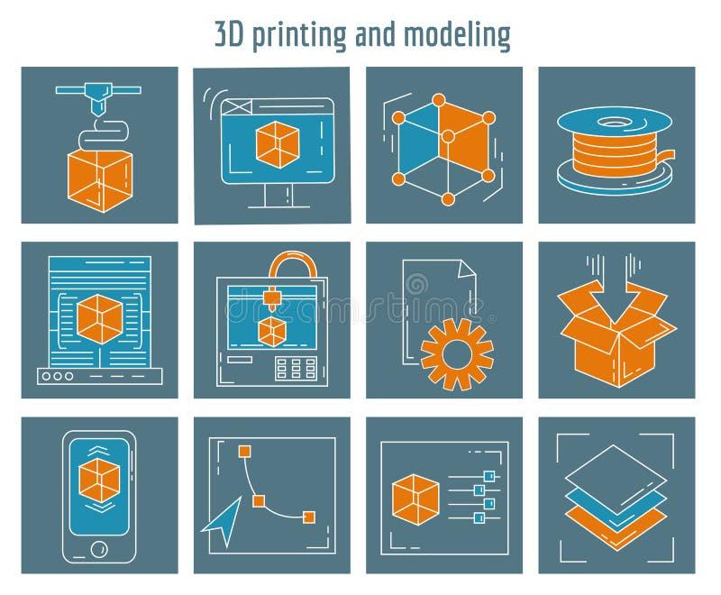 Printing 3d och modellera för vektorsymboler fastställd royaltyfri illustrationer
