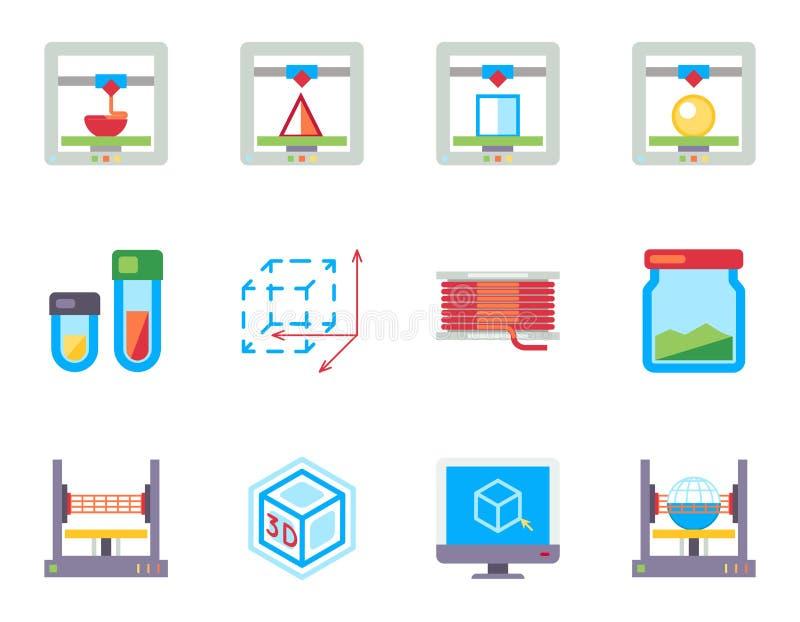 Printing 3D sänker vektorsymbolsuppsättningen royaltyfri illustrationer