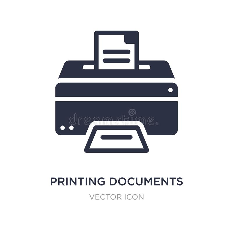 printing documents icon on white background. Simple element illustration from Business and finance concept royalty free illustration