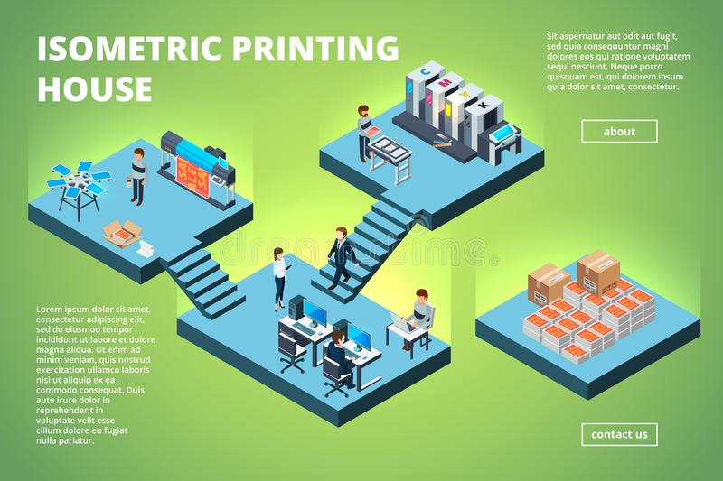 Printing house building. Industrial print production office interior inkjet offset publishing machines copier printer stock illustration