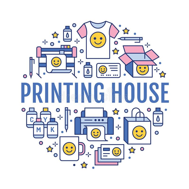 Printing house circle poster with flat line icons. Print shop equipment - printer, scanner, offset machine, plotter. Brochure, cmyk, rubber stamp. Polygraphy royalty free illustration