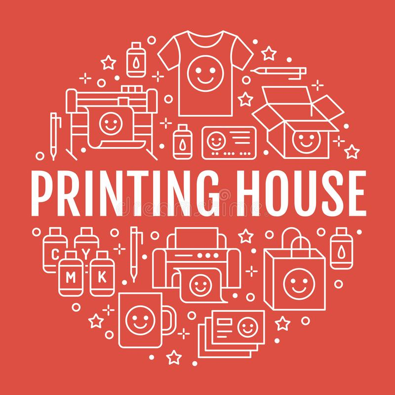 Printing house circle poster with flat line icons. Print shop equipment - printer, scanner, offset machine, plotter royalty free illustration