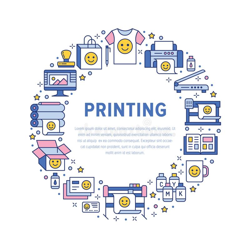 Printing house circle poster with flat line icons. Print shop equipment - printer, scanner, offset machine, plotter vector illustration