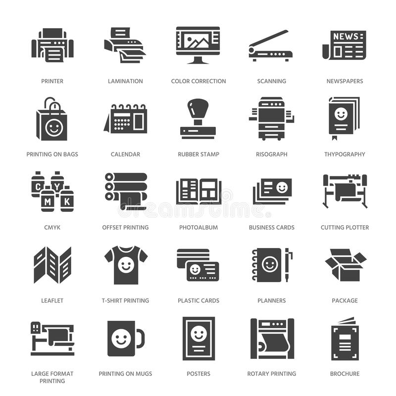 Printing house flat glyph icons. Print shop equipment - printer, scanner, offset machine, plotter, brochure, rubber. Stamp. Silhouette signs for polygraphy stock illustration