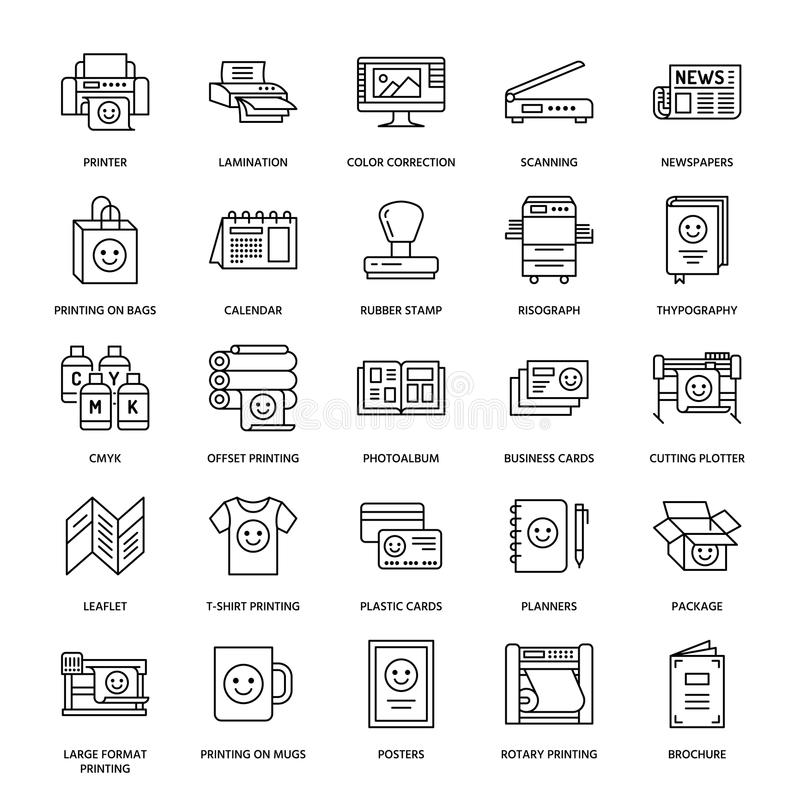 Printing house flat line icons. Print shop equipment - printer, scanner, offset machine, plotter, brochure, rubber stamp vector illustration