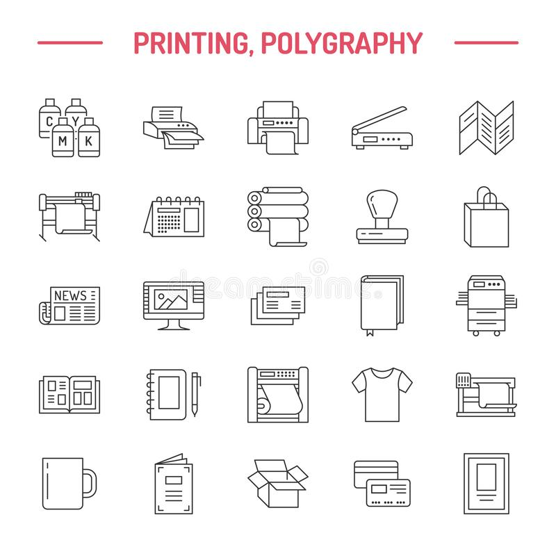 Printing house flat line icons. Print shop equipment - printer, scanner, offset machine, plotter, brochure, rubber stamp. Thin linear signs for polygraphy stock illustration