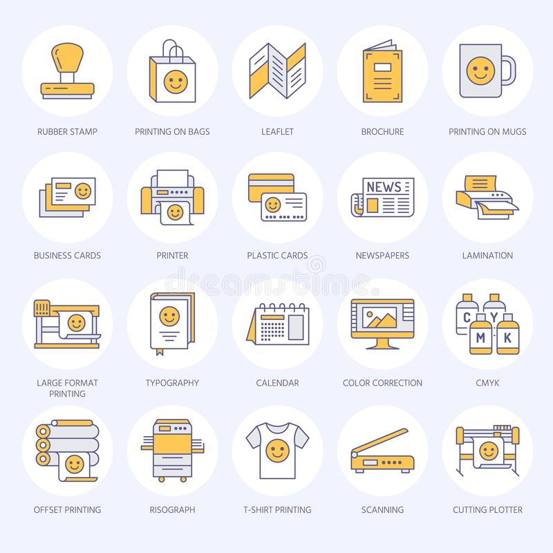 Printing house flat line icons. Print shop equipment - printer, scanner, offset machine, plotter, brochure, rubber stamp. Thin linear signs for polygraphy royalty free illustration