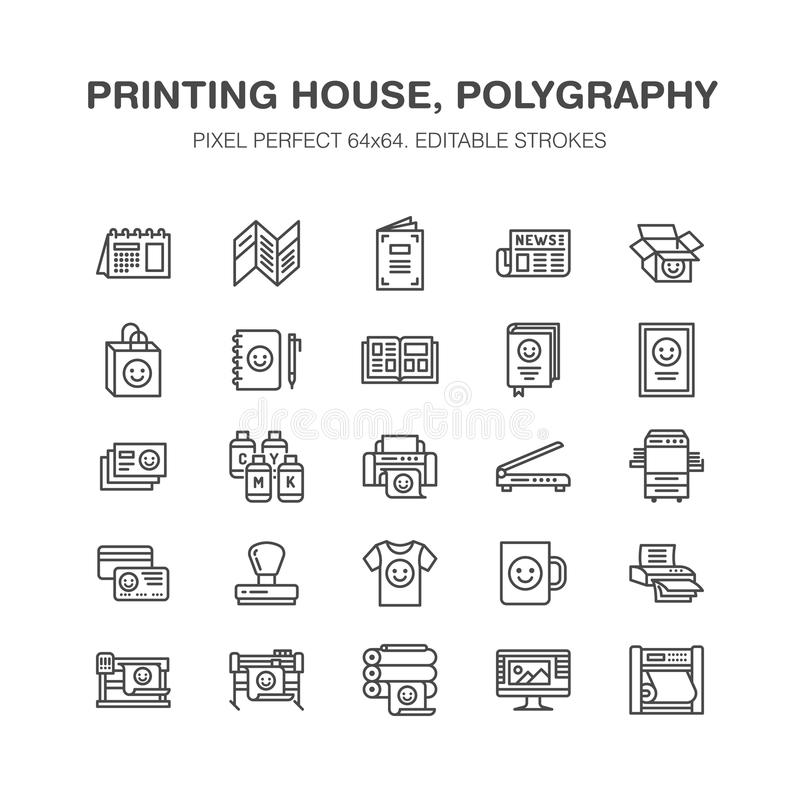 Printing house flat line icons. Print shop equipment - printer, scanner, offset machine, plotter, brochure, rubber stamp. Thin linear signs for polygraphy vector illustration