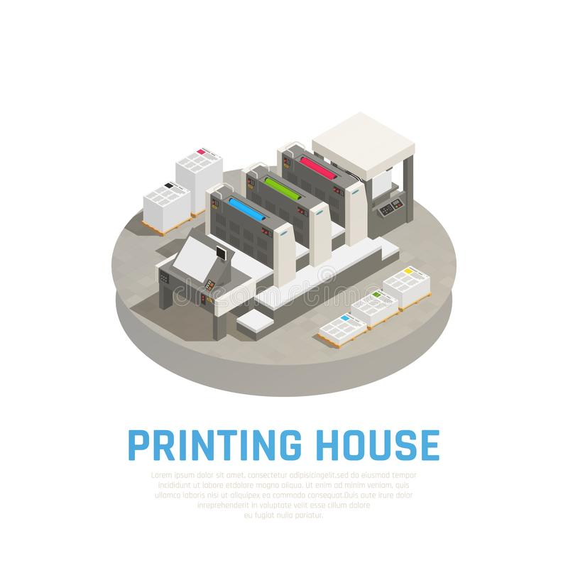 Printing House Isometric Composition vector illustration