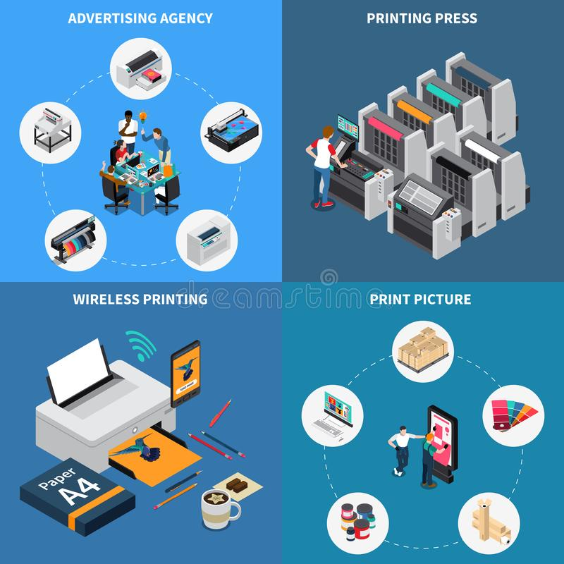 Printing House Isometric Concept stock illustration