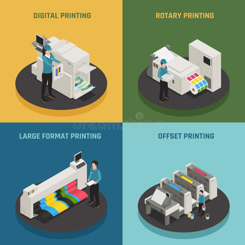 Printing House 4 Isometric Icons vector illustration
