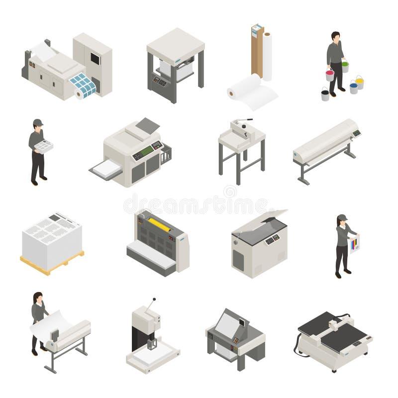 Printing House Isometric Icons Set royalty free illustration