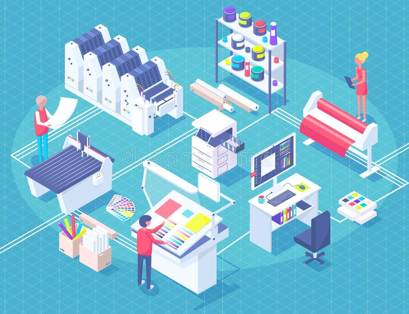 Printing House Isometric Polygraphy Composition stock illustration