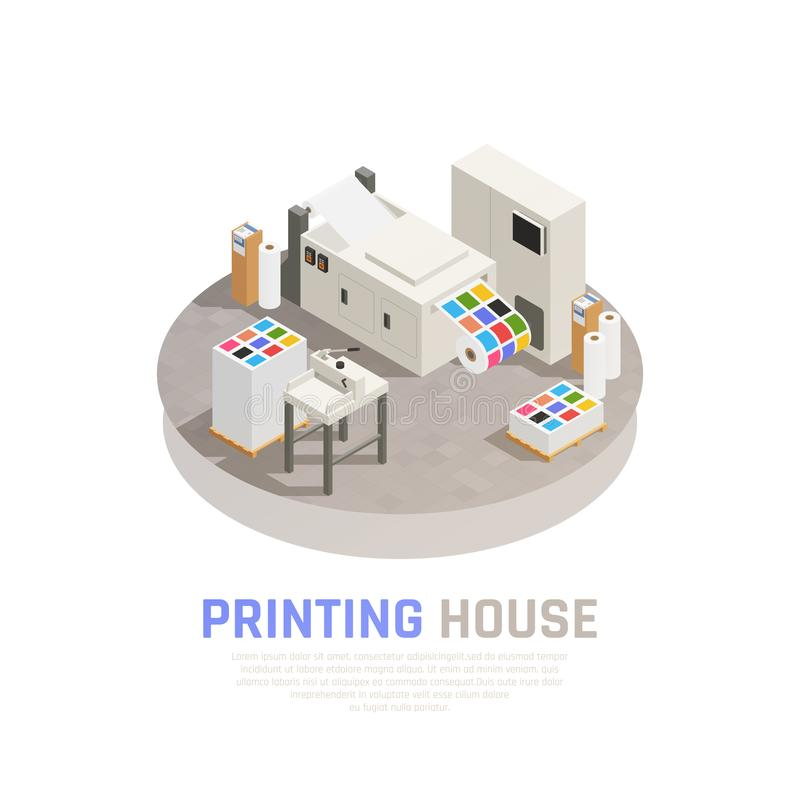 Printing House Polygraphy Isometric Composition vector illustration