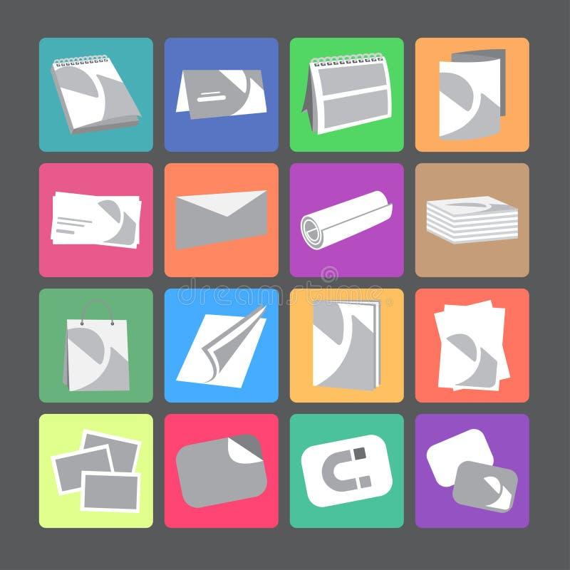 Printing house web flat icons set stock illustration