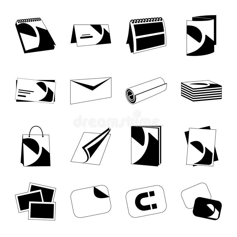 Printing house web monochrome black icons set royalty free stock photo