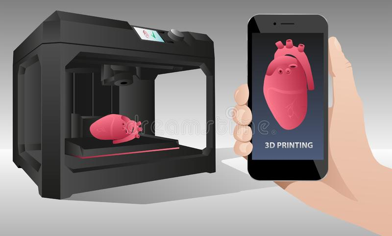 Printing human organs in a 3D printer. vector illustration