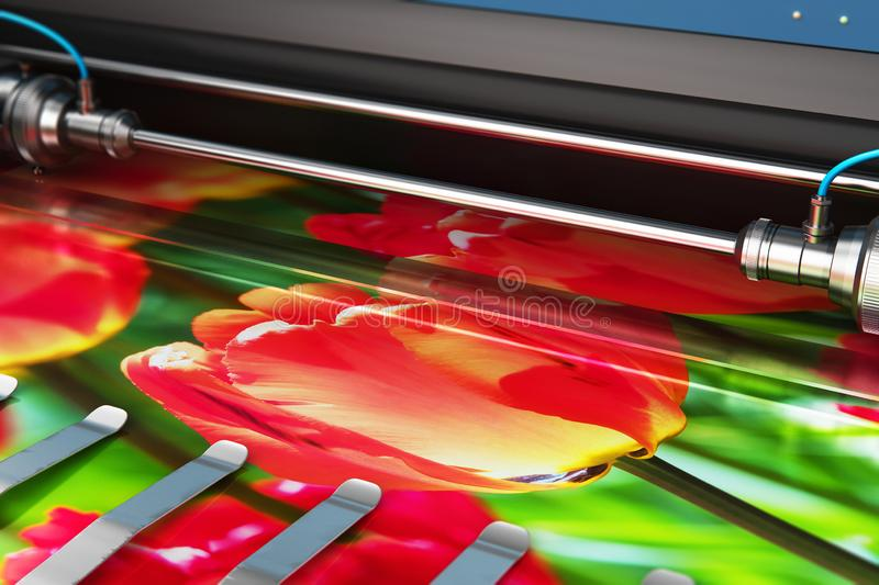 Printing photo banner on large format color plotter. 3D render illustration of printing photo banner on large format color plotter in typography or print house royalty free illustration